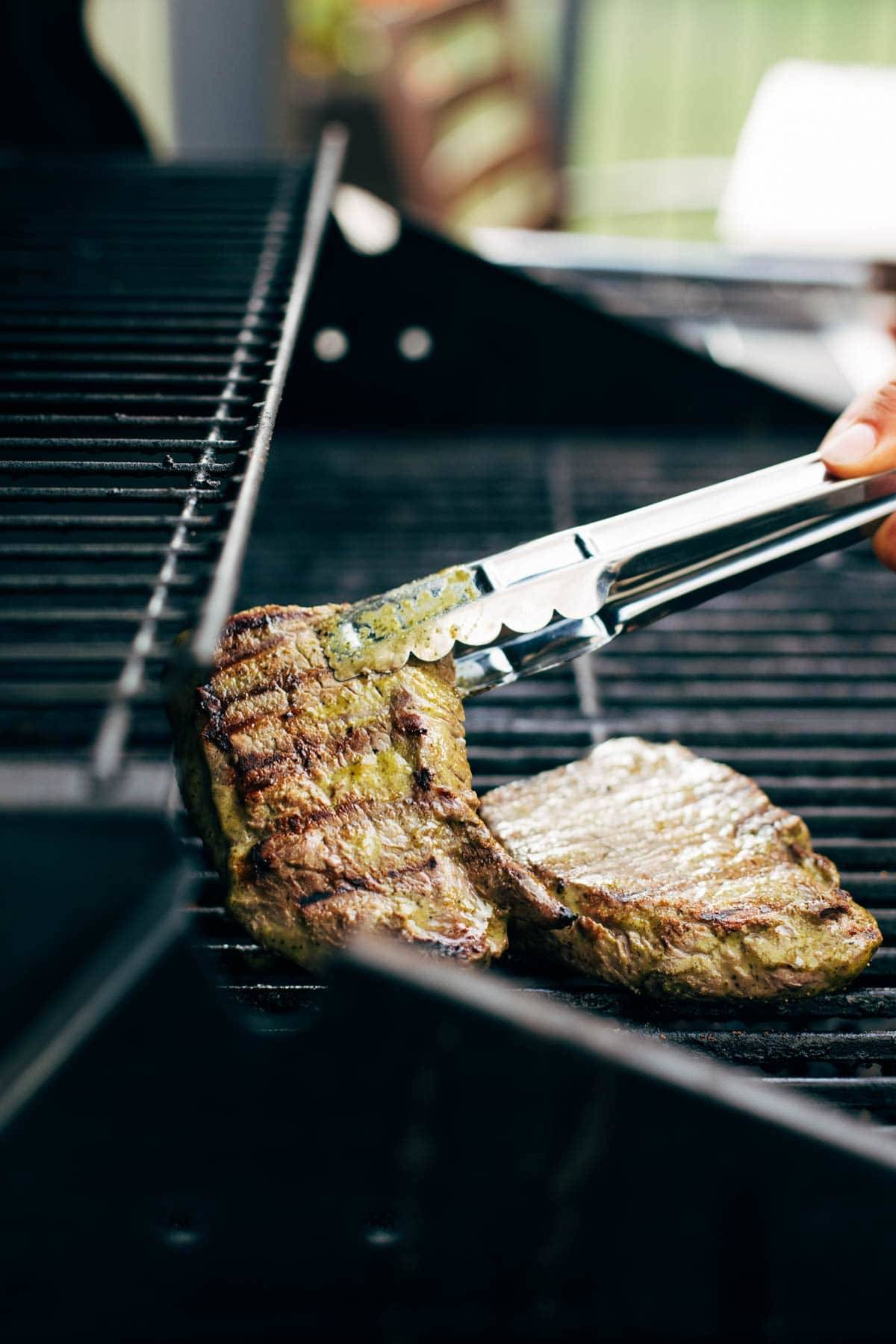 Steak on the grill.