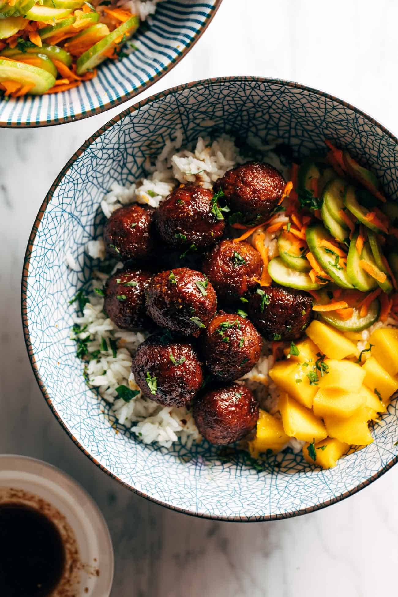 Sticky Ginger Rice Bowls with Pickled Veg and Mango