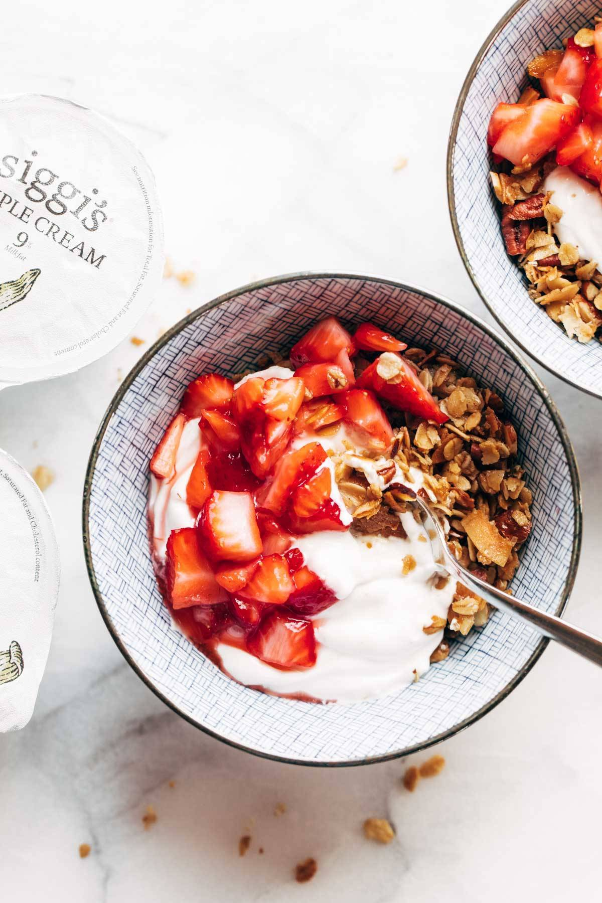 Strawberry Shortcake Yogurt Bowls with siggi's yogurt.
