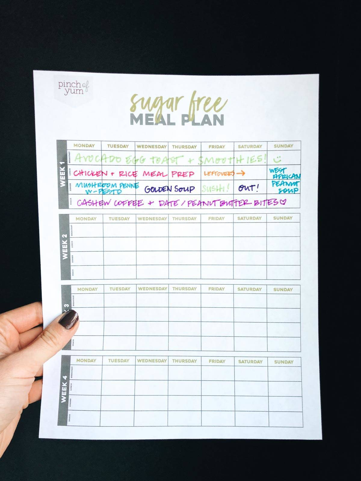 sugar free meal plan printable template