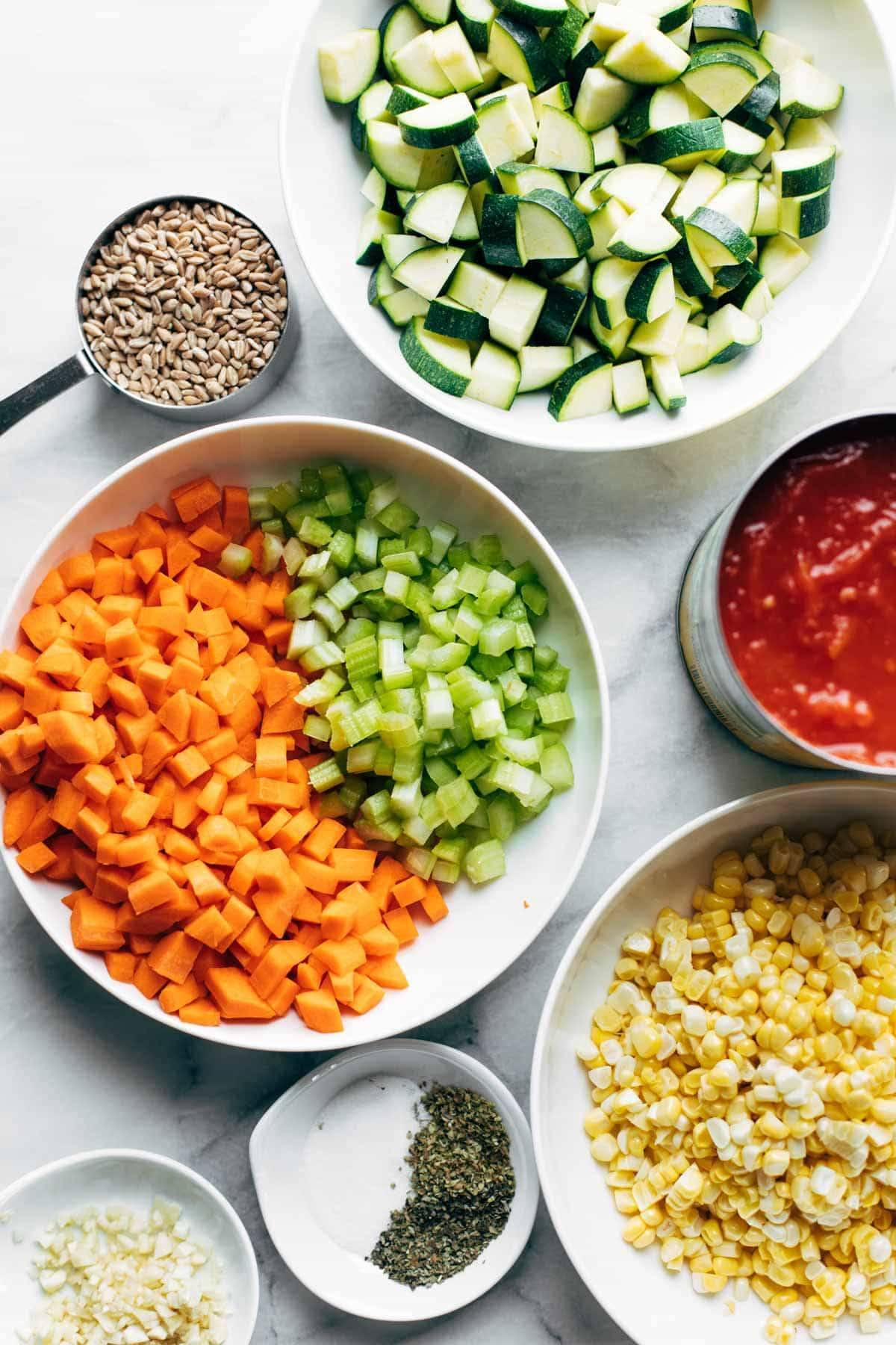 Ingredients in bowls for Instant Pot Summer Soup.
