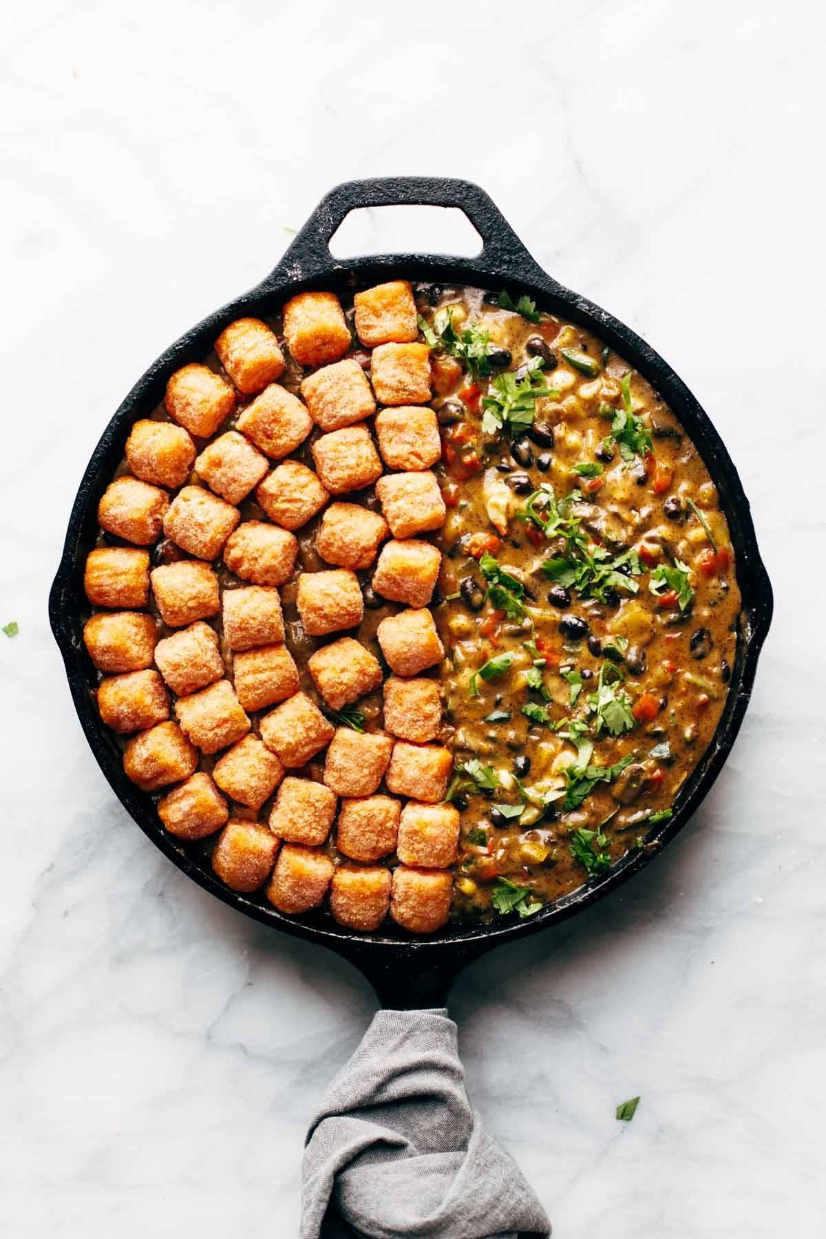 sweet potato tater tot hotdish in a skillet