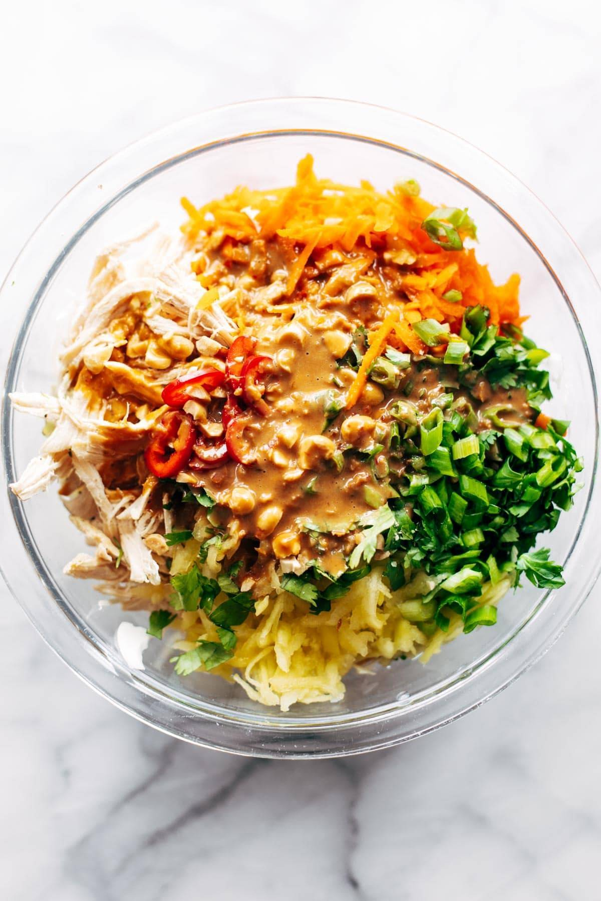 Chopped Thai Chicken Salad in a mixing bowl.