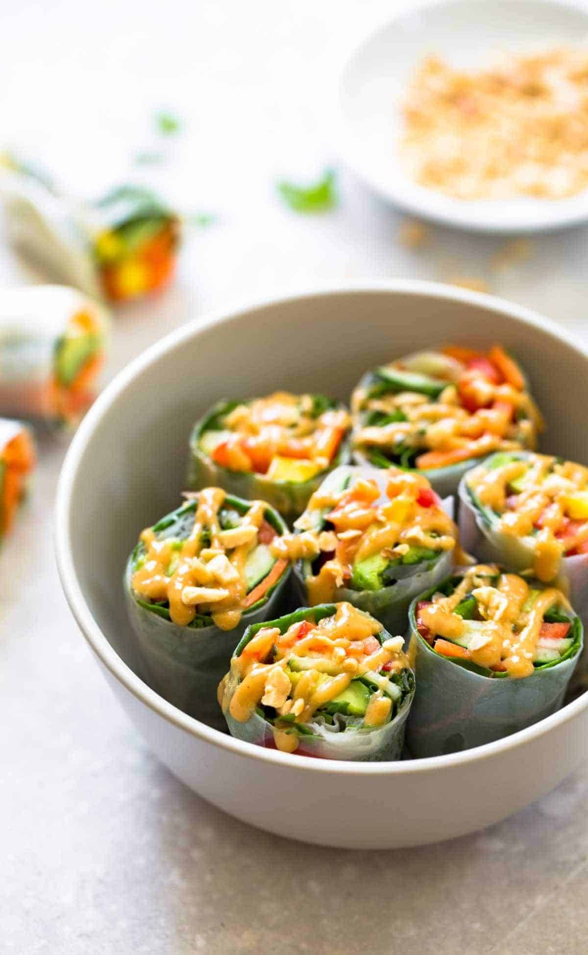 Thai summer rolls with peanut sauce recipe pinch of yum thai summer rolls with peanut sauce in a bowl forumfinder Choice Image