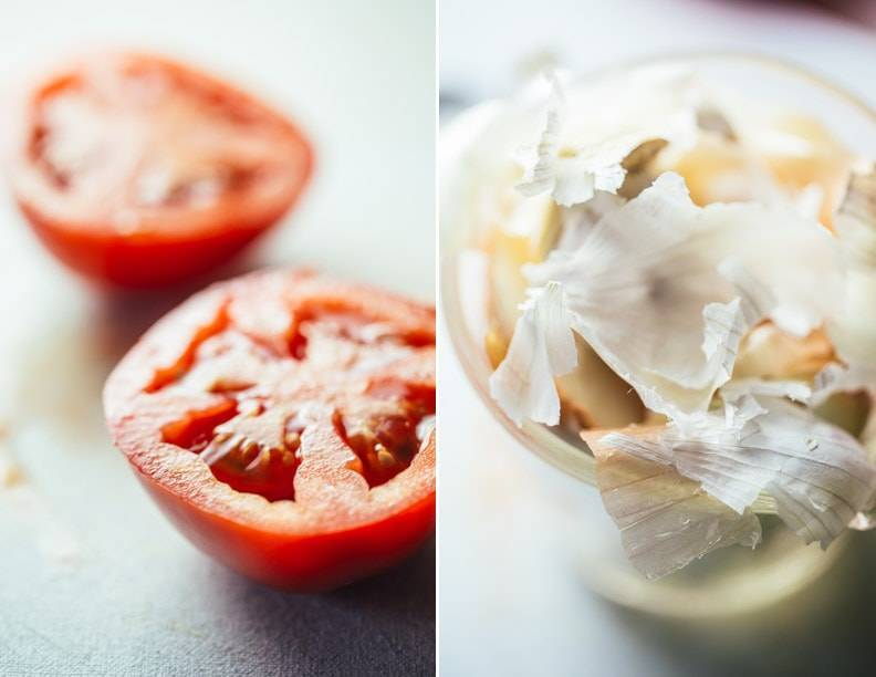 Tomatoes and onion peels.