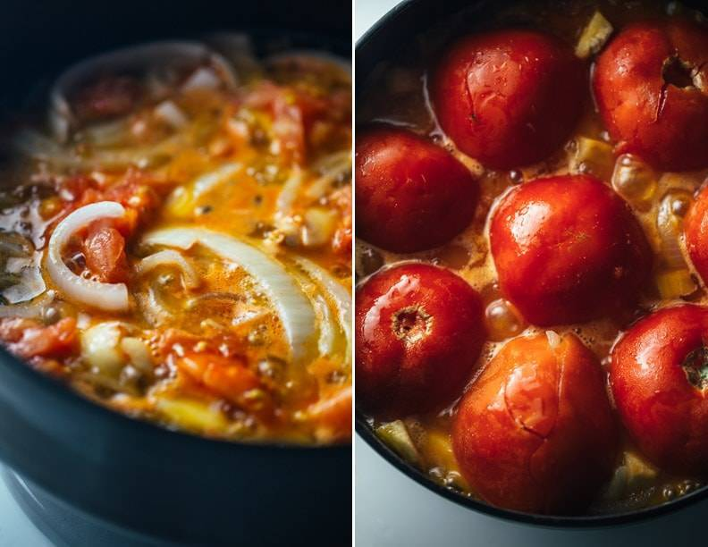 One pot spanish chicken and potatoes recipe pinch of yum onions and tomatoes in a skillet forumfinder