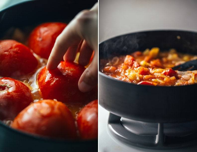 Tomatoes in a skillet on the stove.