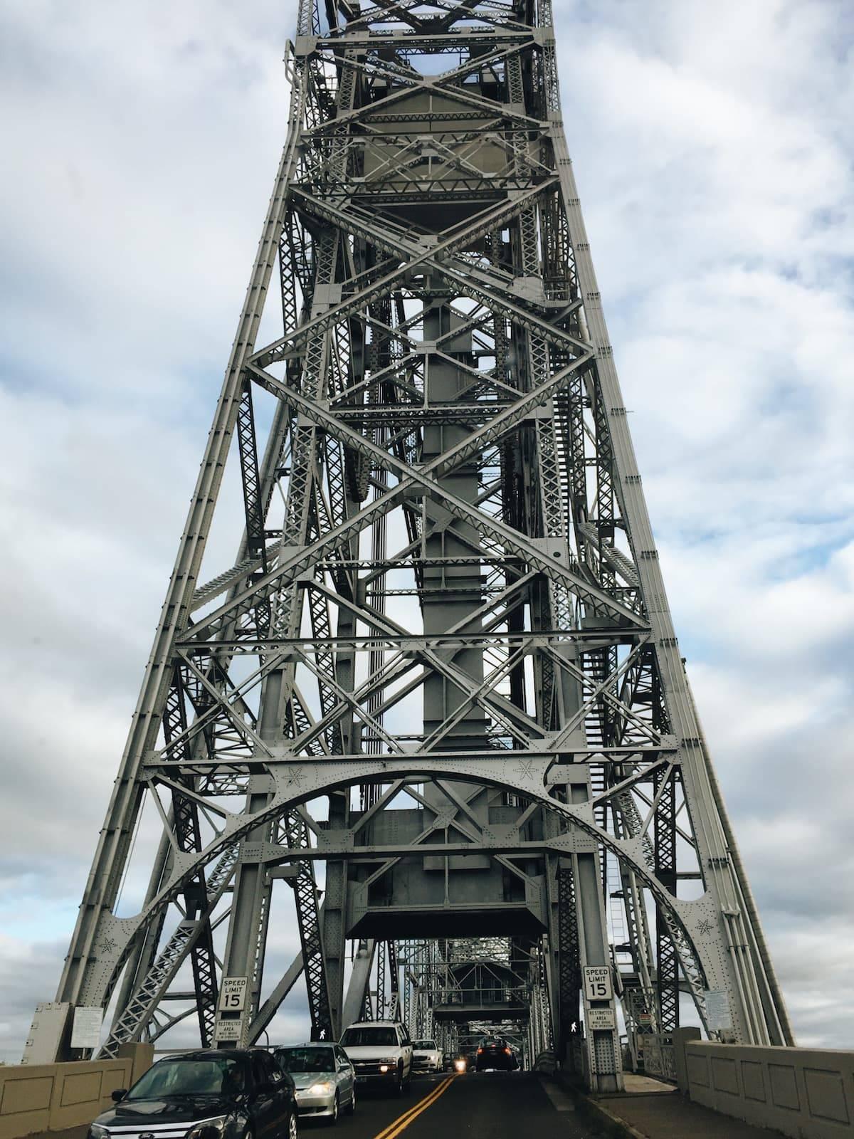 Tall lift bridge.