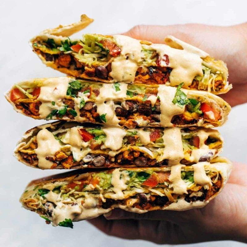 Vegan crunchwrap supreme with cashew queso.