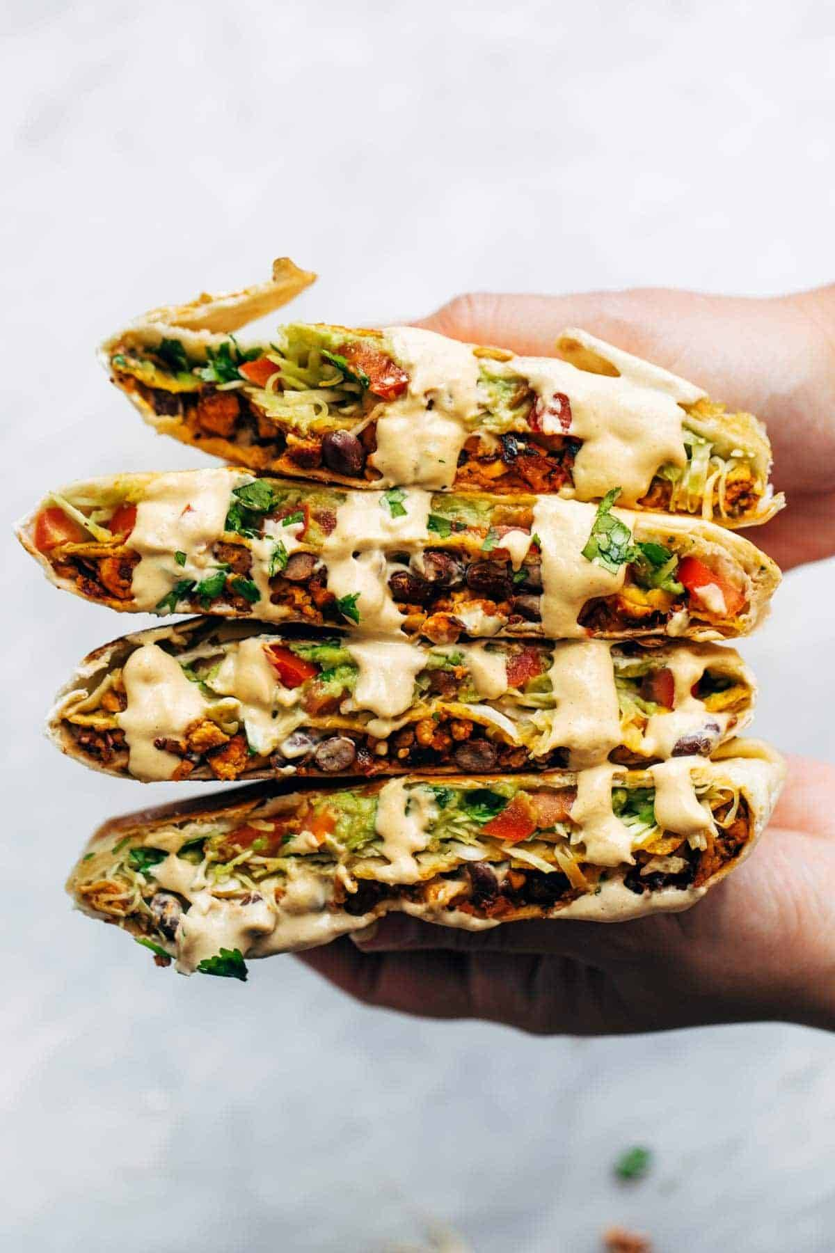 Vegan crunchwrap supreme with cashew queso.