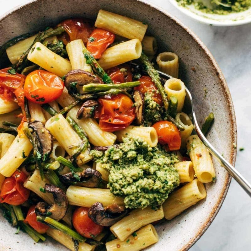 A picture of Farmers' Market Pasta with Walnut Pesto