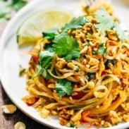 Rainbow Vegetarian Pad Thai with Peanuts and Basil