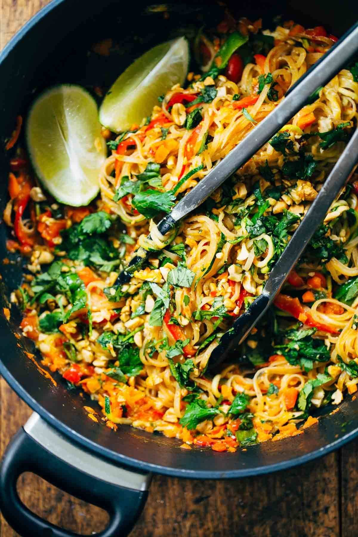 Rainbow Vegetarian Pad Thai with Peanuts and BasilPinch of Yum