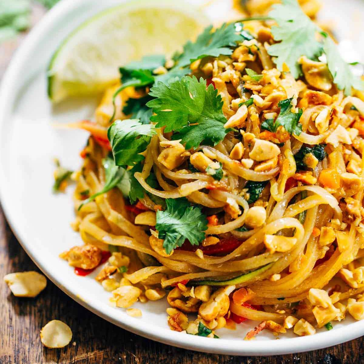 Rainbow Vegetarian Pad Thai With Peanuts And Basil Recipe Pinch Of Yum