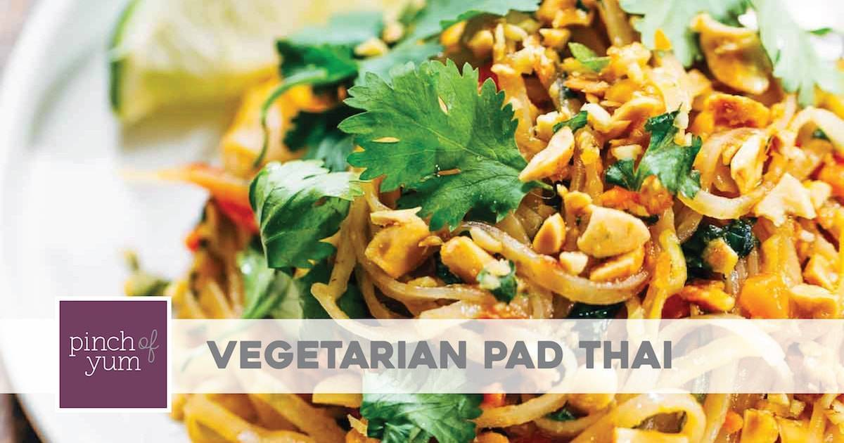 Rainbow Vegetarian Pad Thai With Peanuts And Basil Recipe