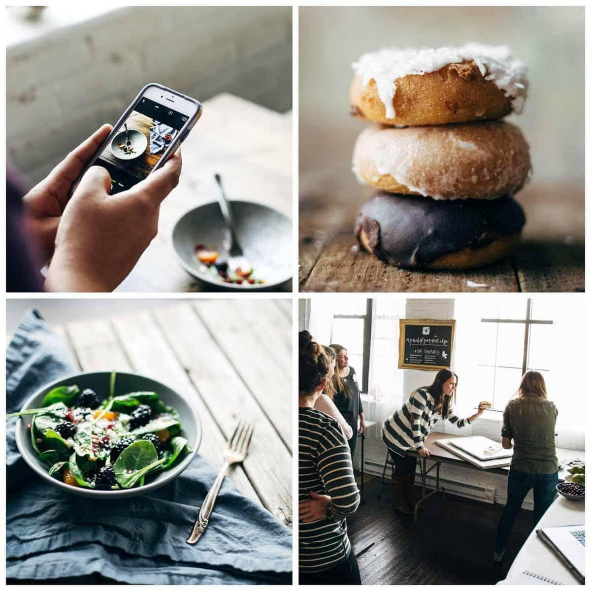 photos of food and an iphone and women taking photos