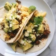 Breakfast tacos on a plate.