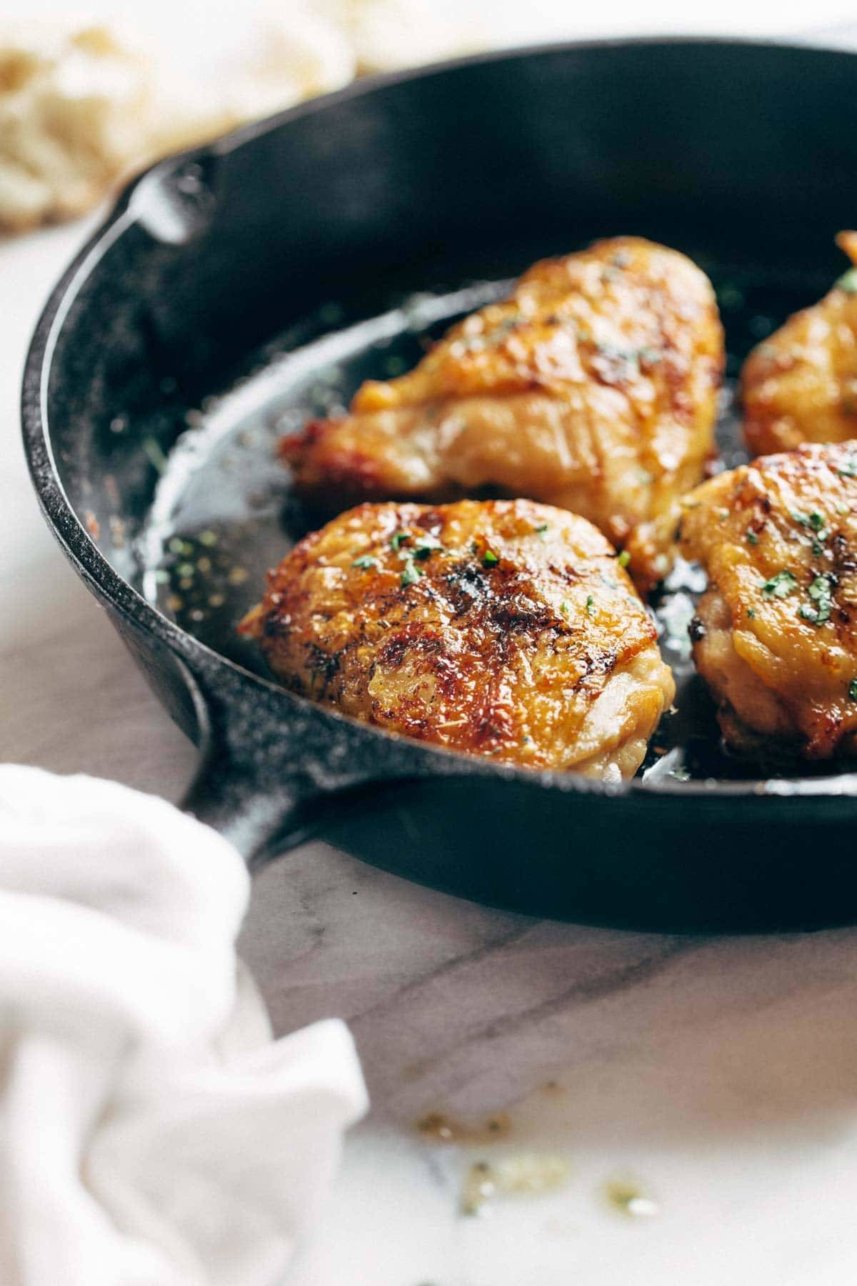 Honey Lemon Chicken in a skillet.