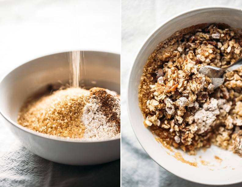 Sugar in a white bowl and apple crisp in a dish with a spoon.