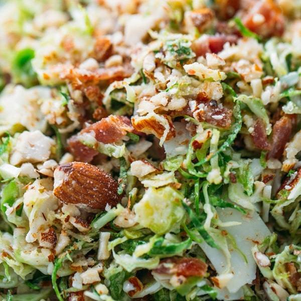 Close-up of Bacon and Brussels Sprout Salad.