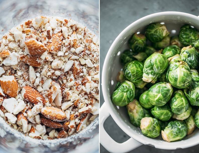 Chopped almonds and brussels sprouts.