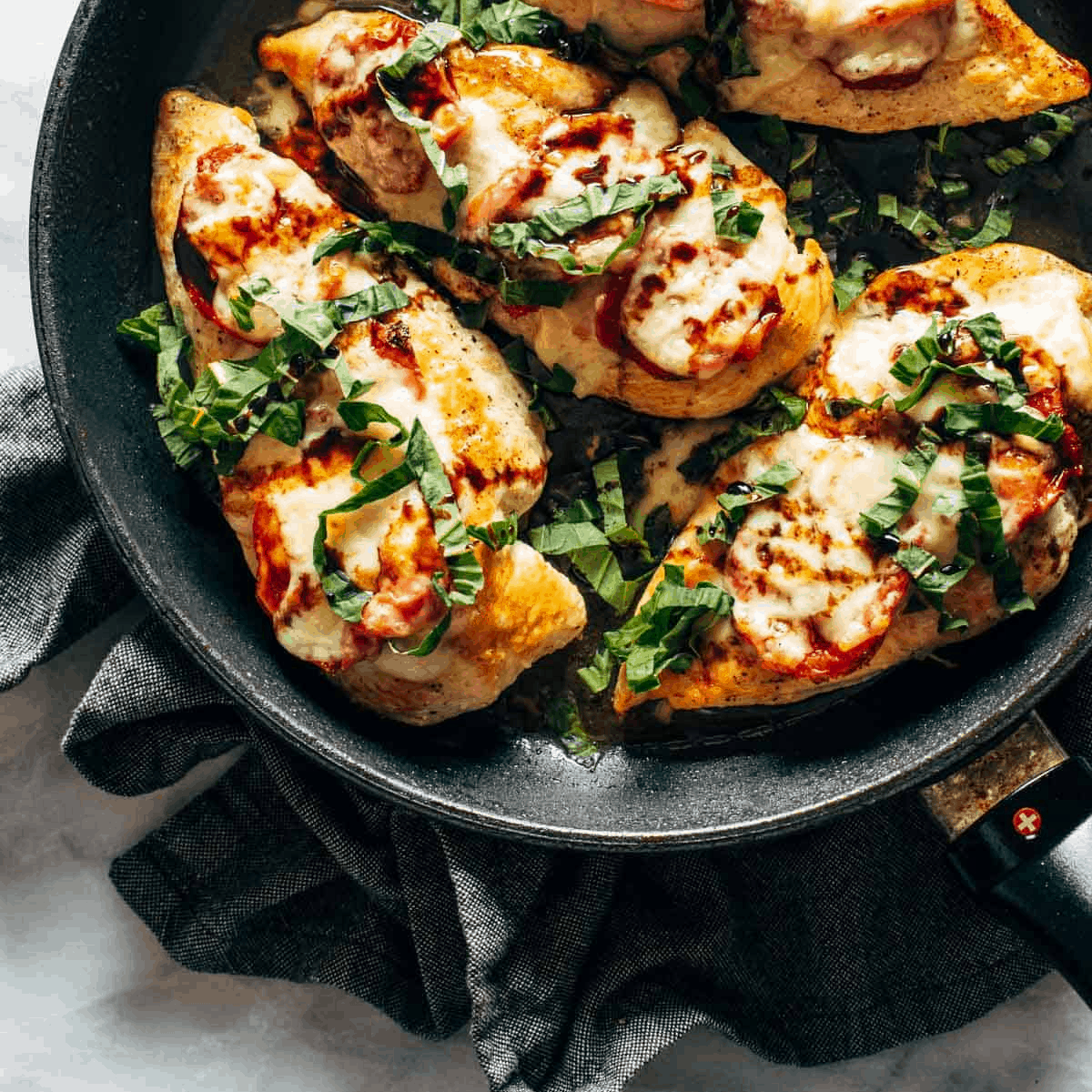 A picture of Caprese Chicken with Smashed Potatoes