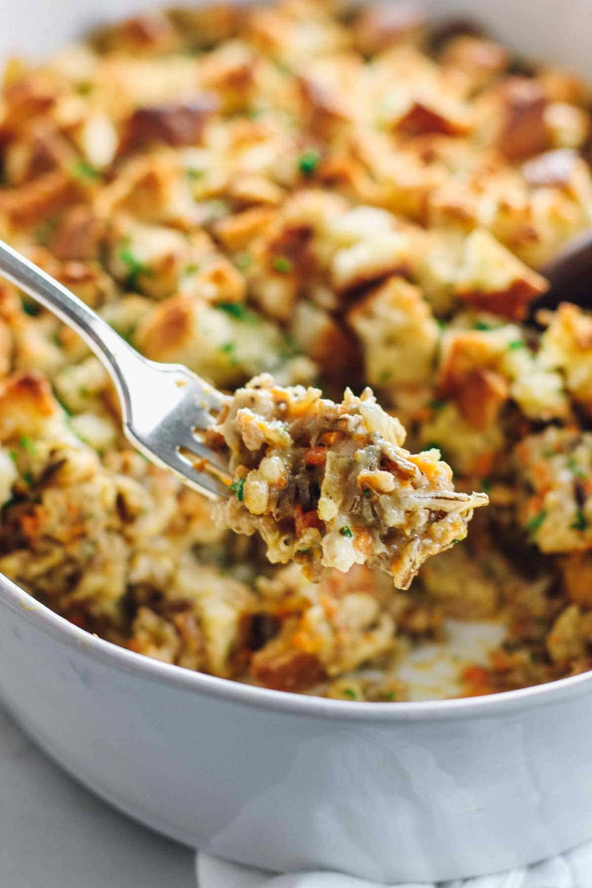 Chicken Wild Rice Casserole - just like the classic soup but in casserole form, topped with golden buttery bread cubes.