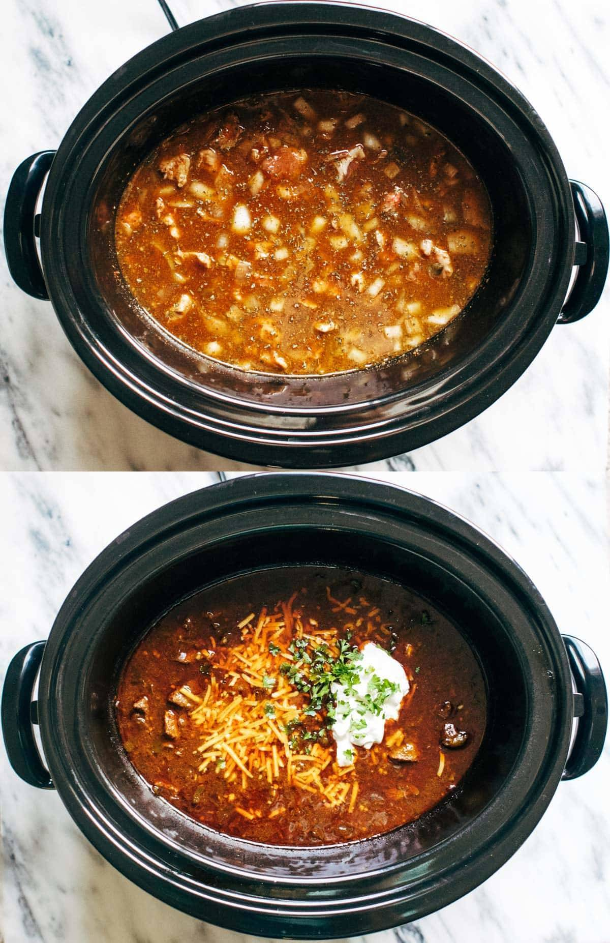 Chili in a slow cooker.