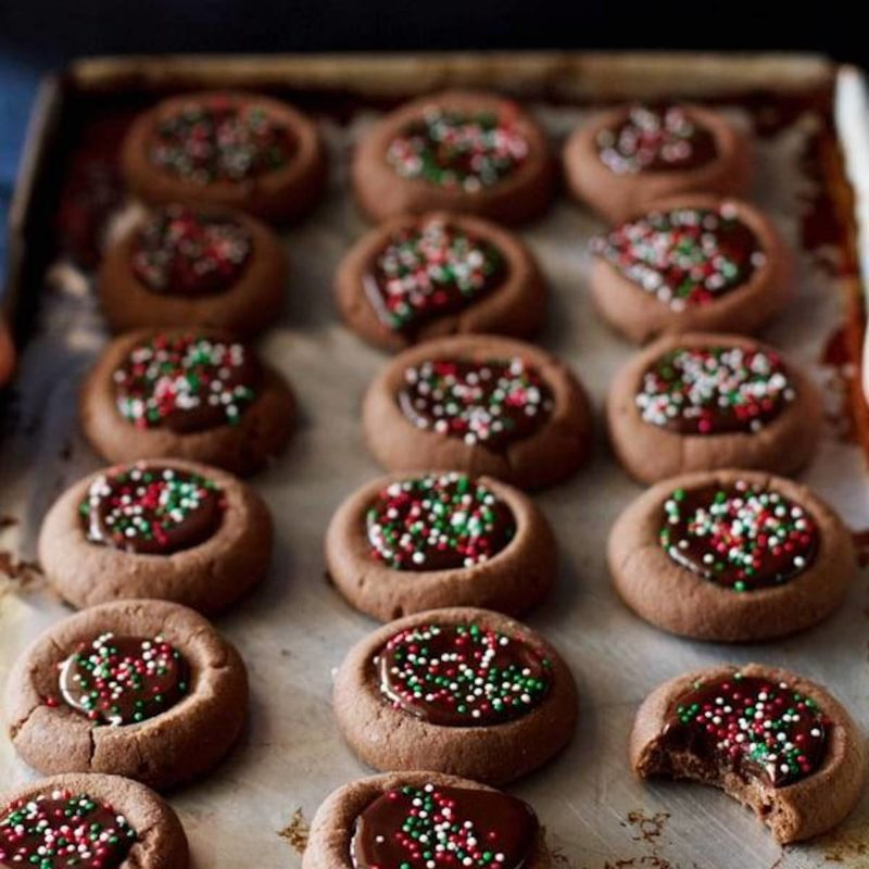 A picture of Mini Chocolate Thumbprint Cookies