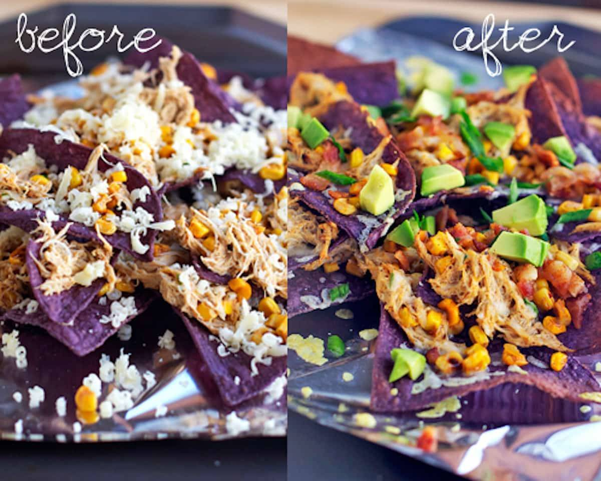 These crab avocado nachos are perfect for all cheesy blue corn chip nacho lovers! If you also love crab meat. Which I do. | pinchofyum.com