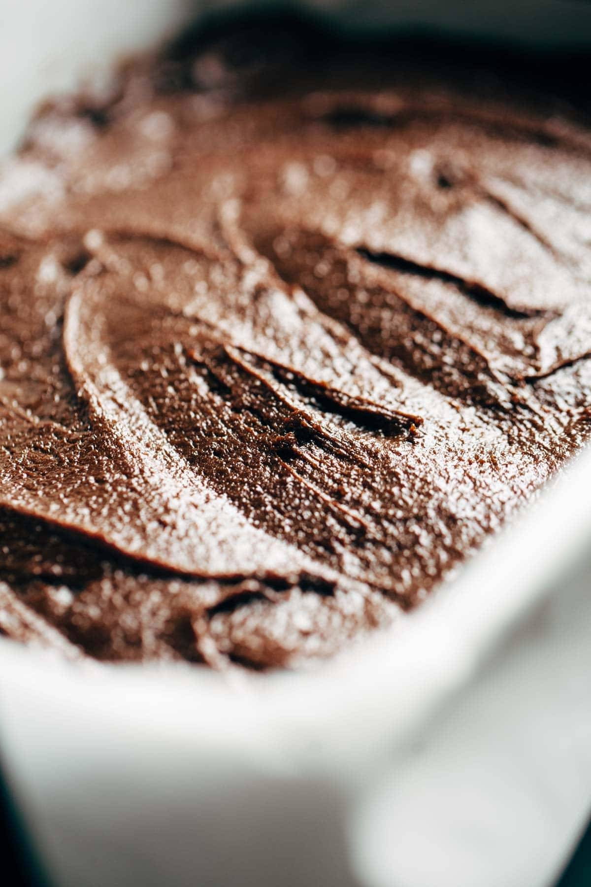 Espresso brownie batter in a dish.