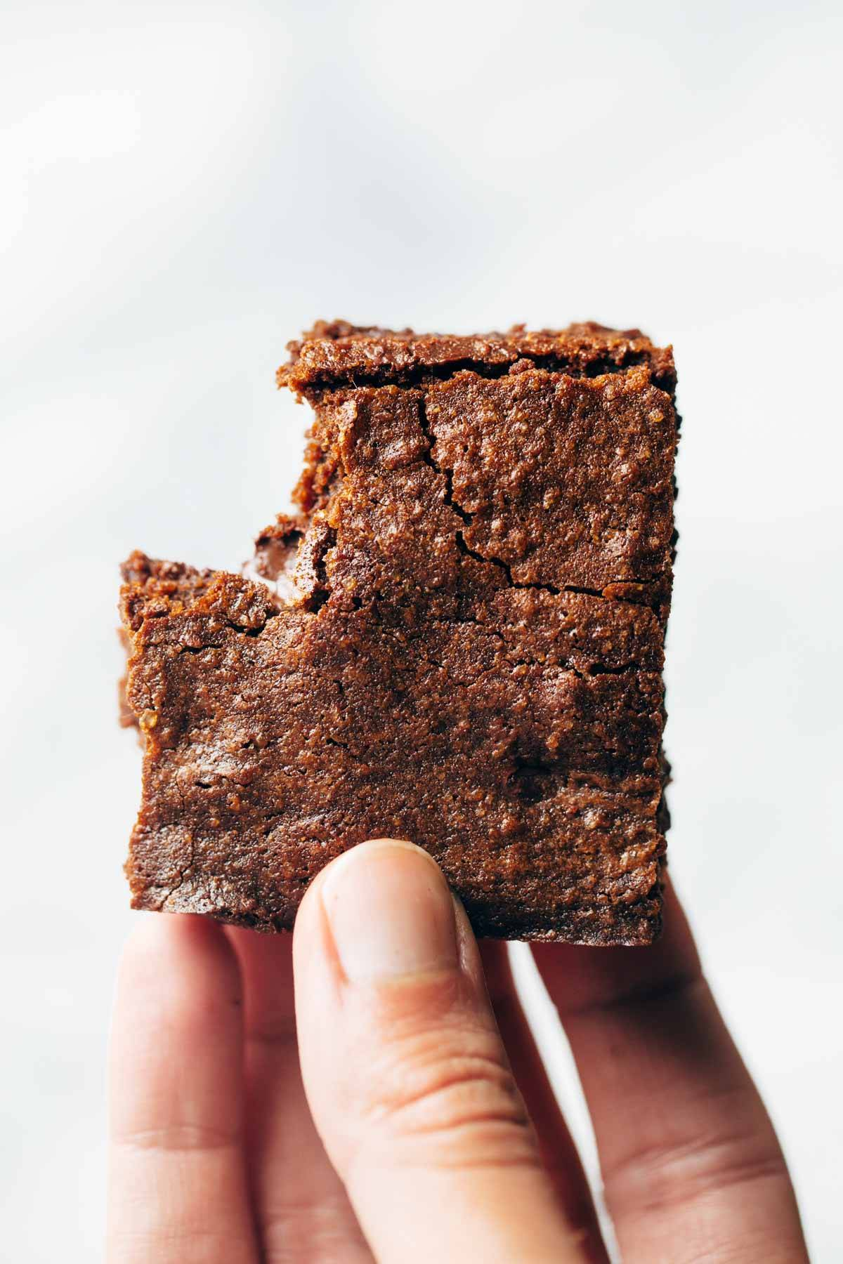 Espresso brownie with a bite in it.
