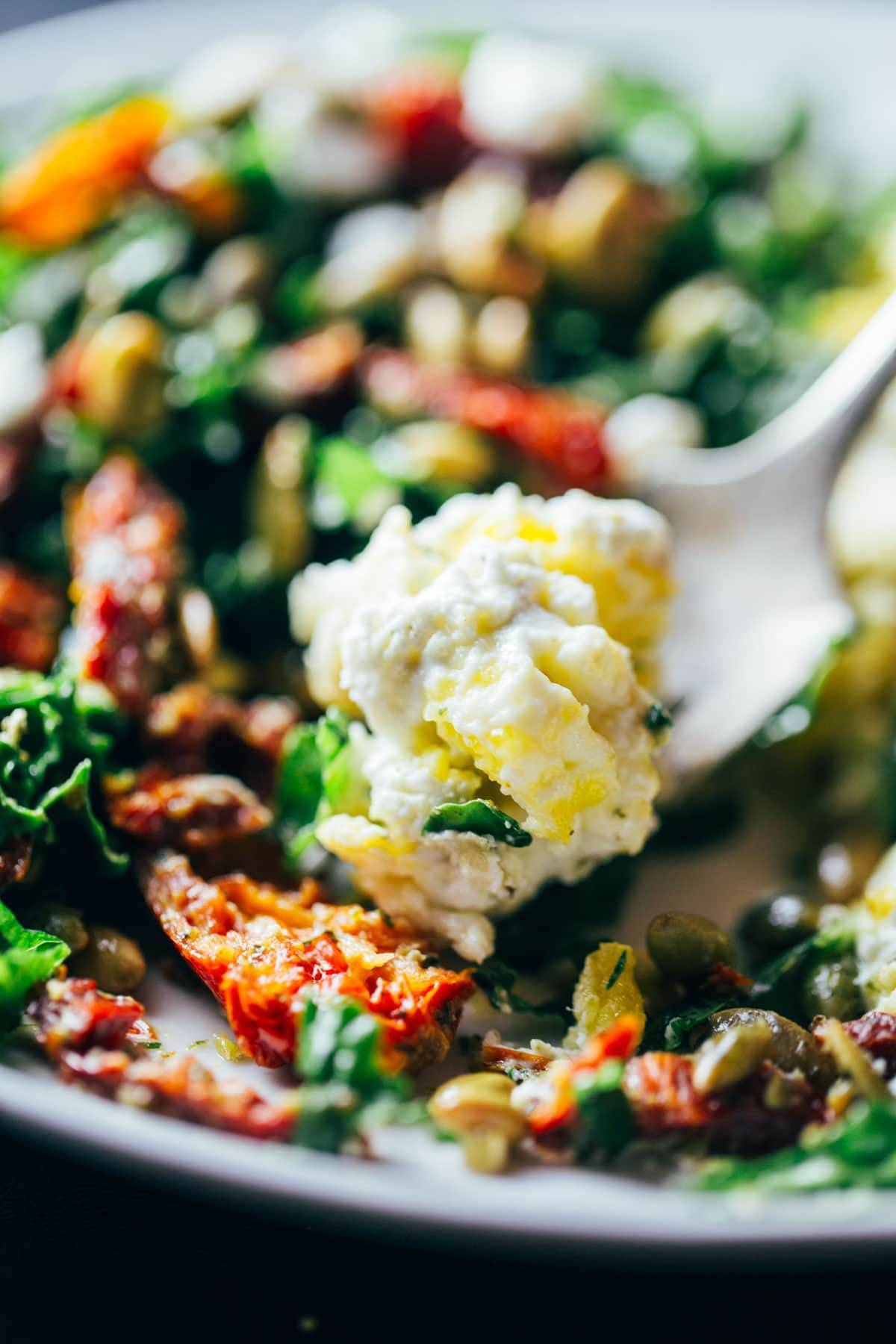 Scrambled Eggs with Pesto Veggies.