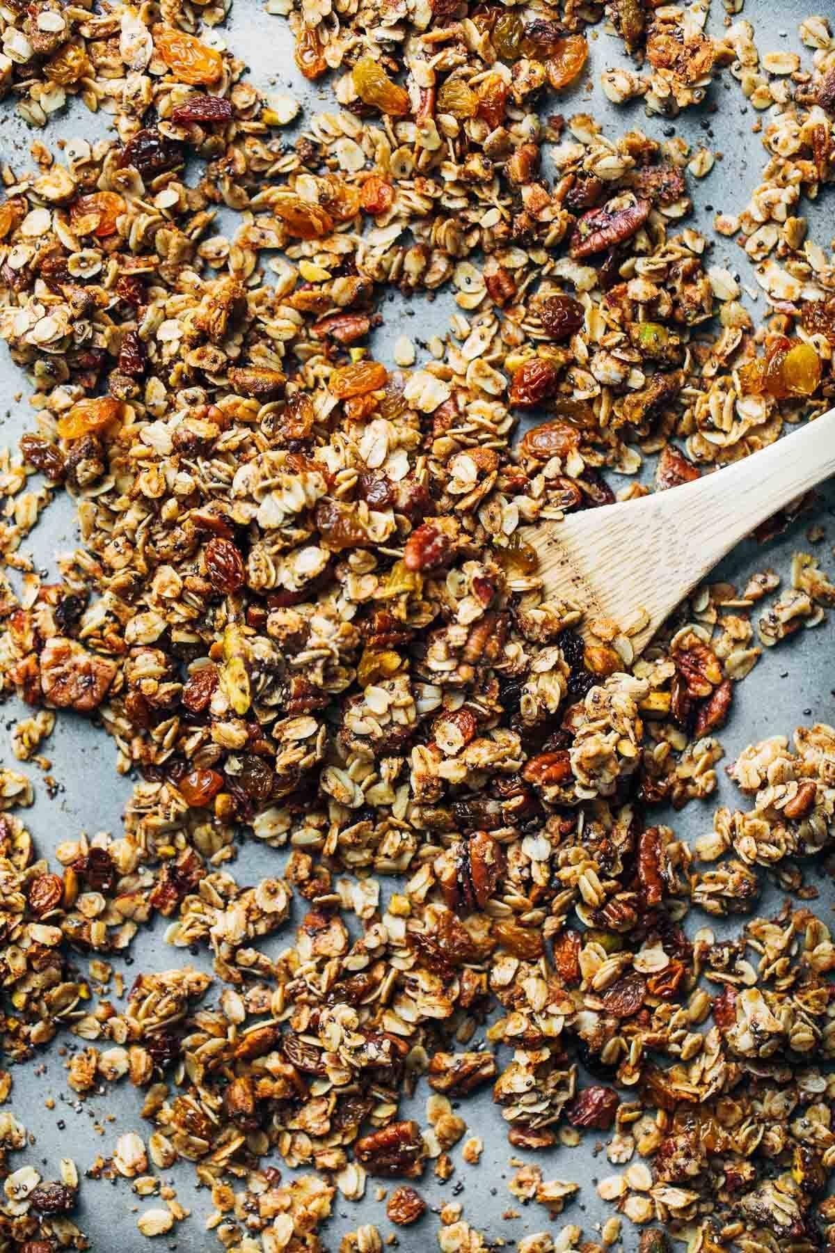 Favorite Coconut Oil Granola on a pan.
