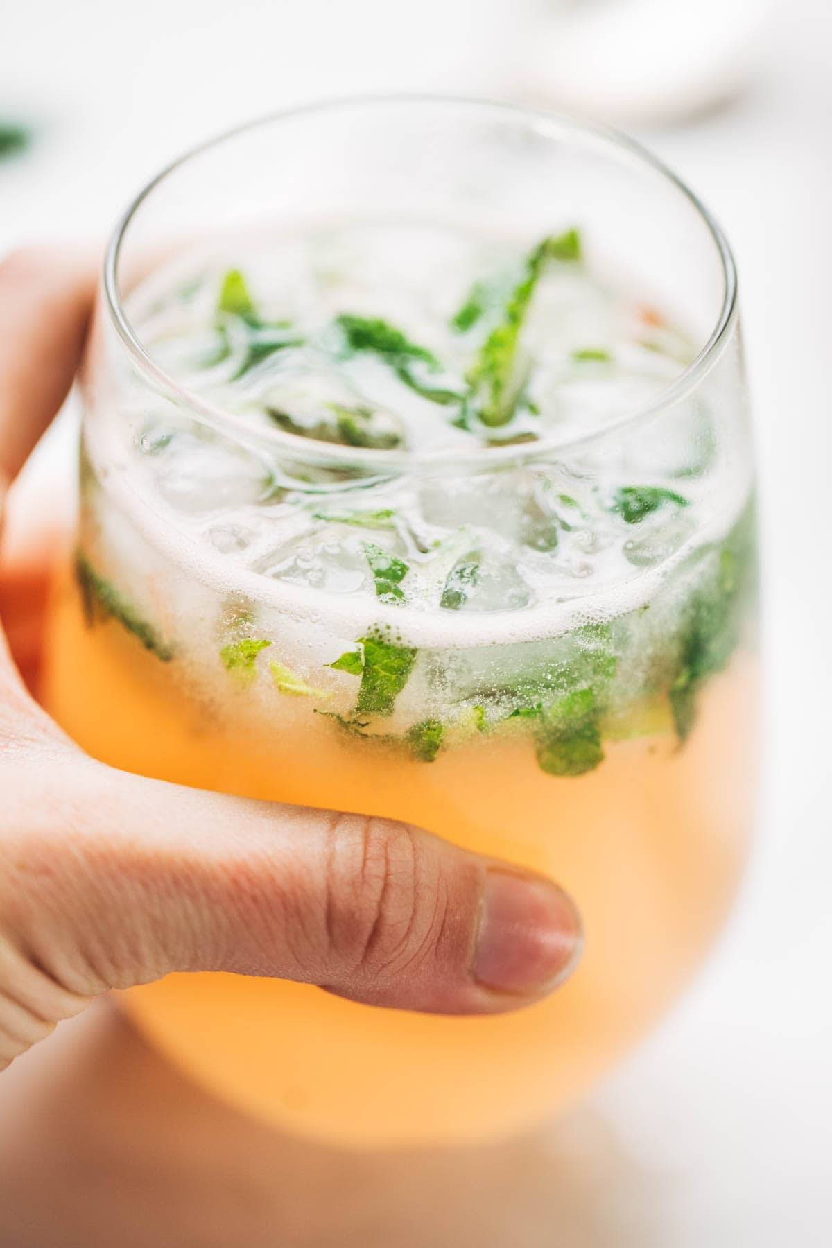 Grapefruit Mojitos in a glass.