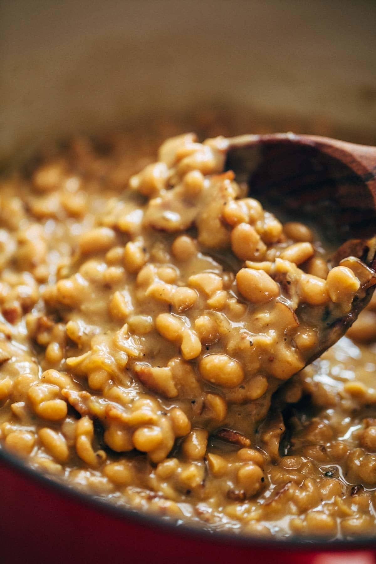 brown sugar baked beans in pan