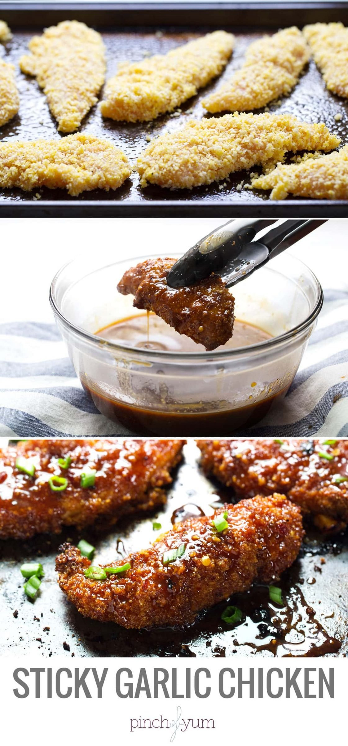 Sticky Garlic Chicken and Broccoli - bake, dip, bake again, eat and love. 340 calories. | pinchofyum.com #chicken #recipe