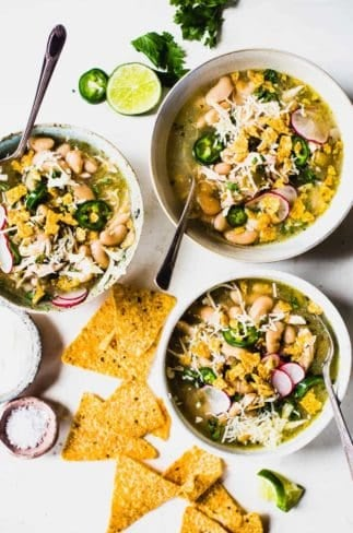 Jalapeño lime chicken soup in bowls.