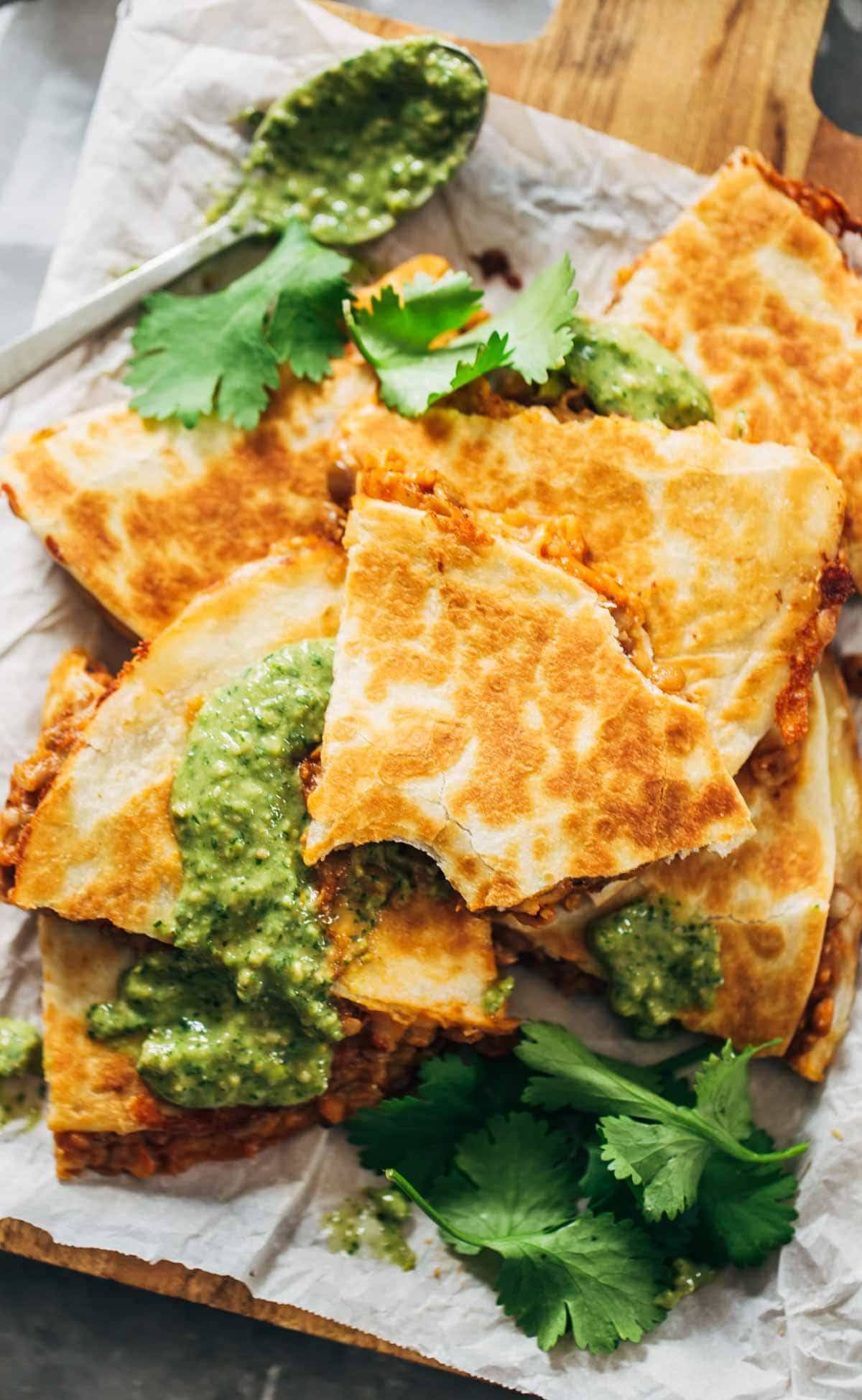Quick & Easy Lentil Quesadillas Recipe - with melted Pepperjack cheese and a spicy lentil and brown rice filling. So easy and SO good! | pinchofyum.com