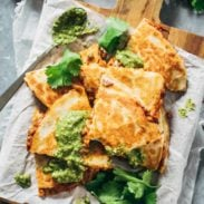 Super Easy Lentil Quesadillas Recipe - melted Pepperjack cheese + a spicy lentil and brown rice filling. Easy, made from scratch, crockpot friendly, vegetarian comfort food! | pinchofyum.com