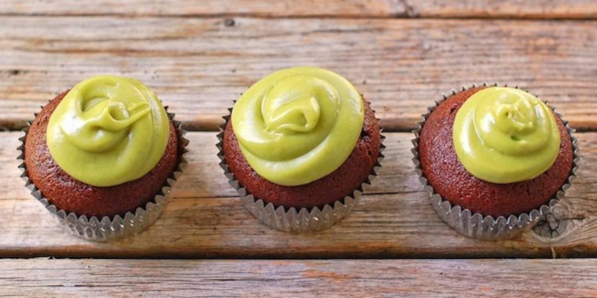 Milk chocolate cupcakes with a sweet avocado buttercream.