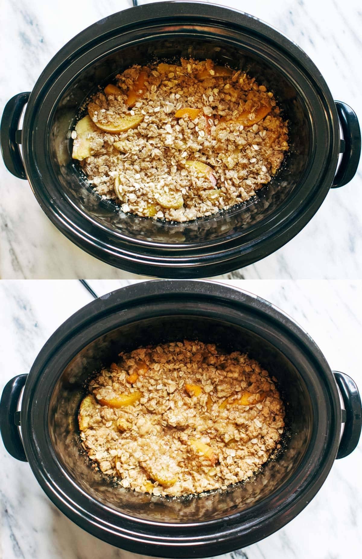 Slow Cooker Peach Cobbler | pinchofyum.com