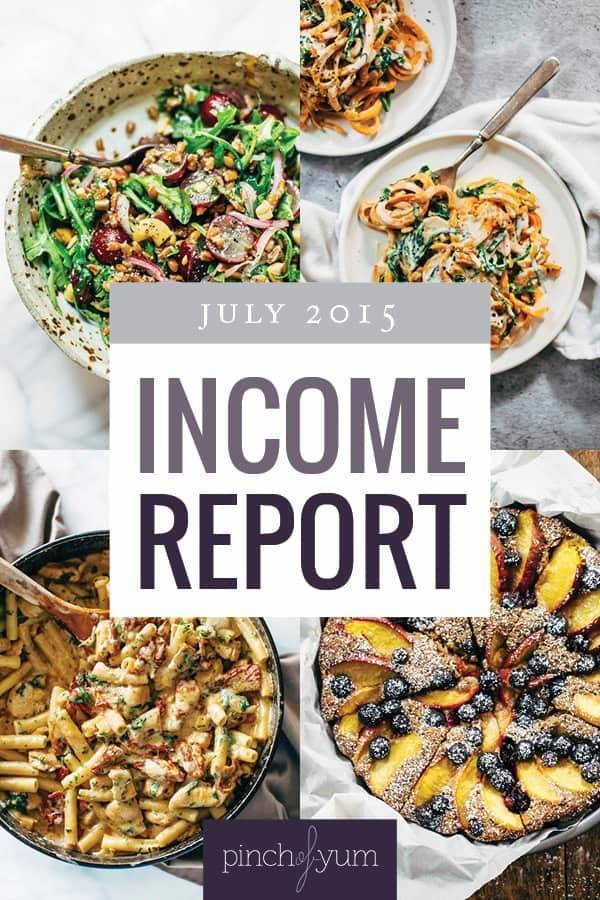 Pinch of Yum's Traffic and Income Report collage images.
