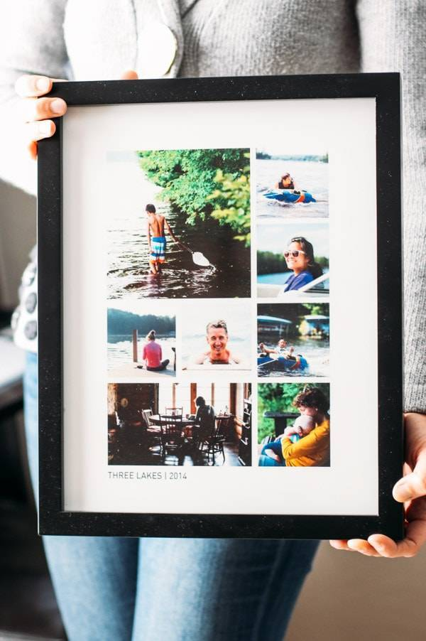 Frame with cabin photos.