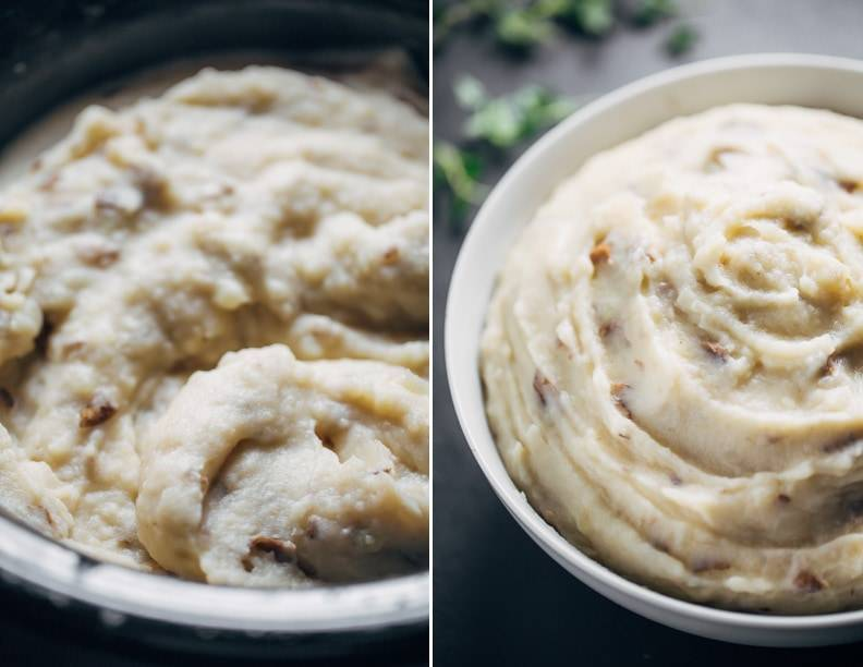 Easiest Garlic Mashed Potatoes - made entirely in the bowl of a slow cooker for easy prep and clean up!