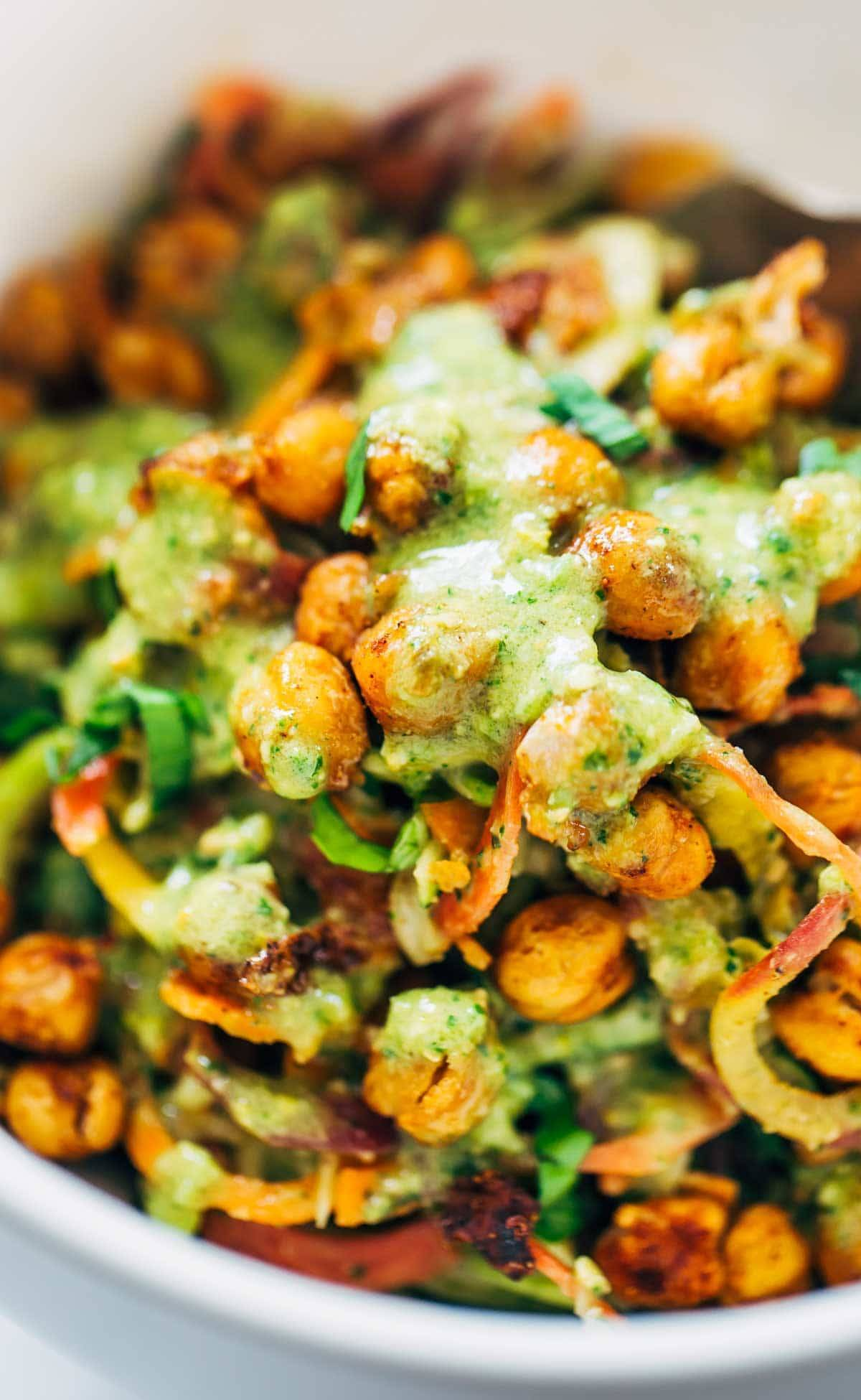 Rainbow Power Salad with Roasted Chickpeas - a filling salad that comes together with just three easy ingredients and a five minute sauce. So much flavor, texture, and color! Vegan.