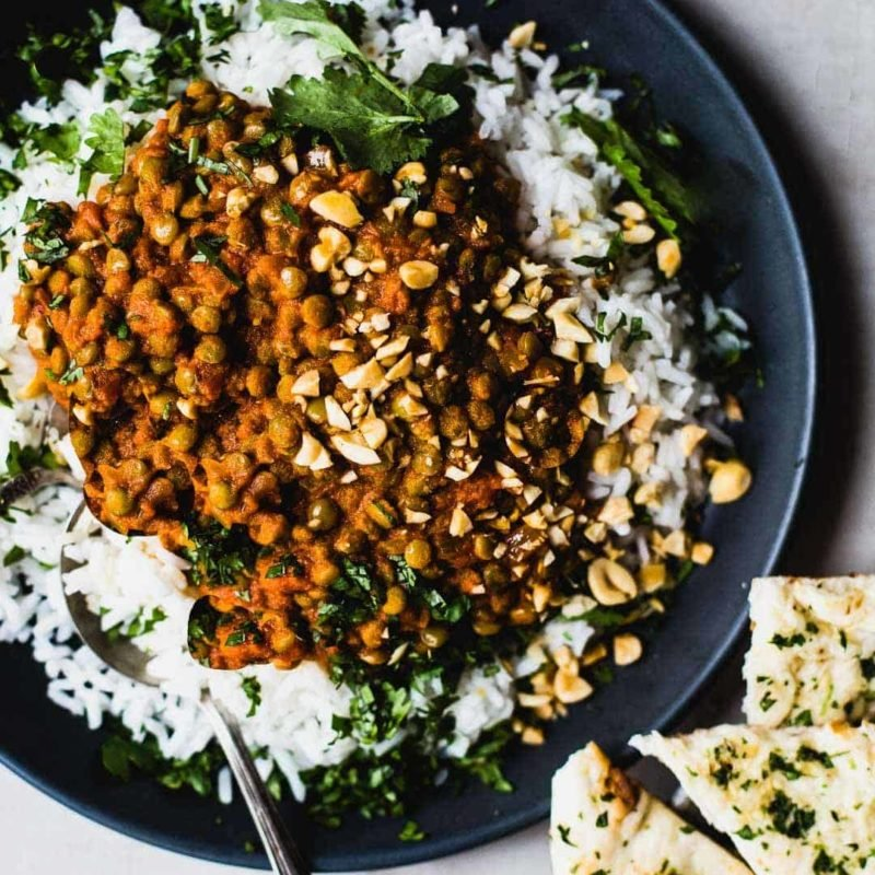 Red curry lentils with rice and naan.
