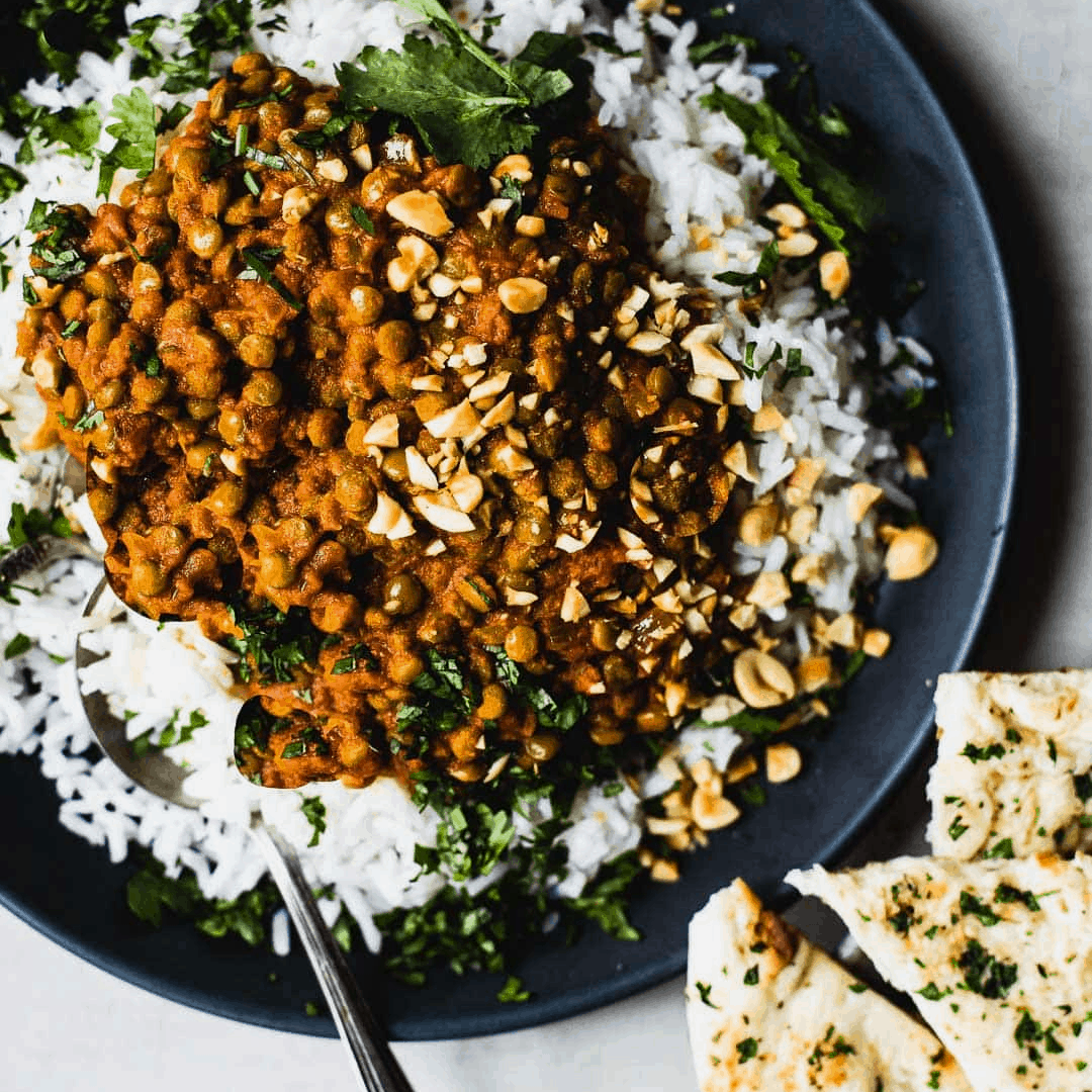 Red curry lentils in a bowl