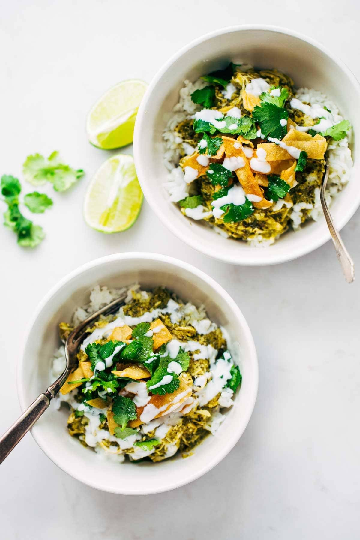 Roasted Tomatillo Chicken and Rice Bowls with limes.