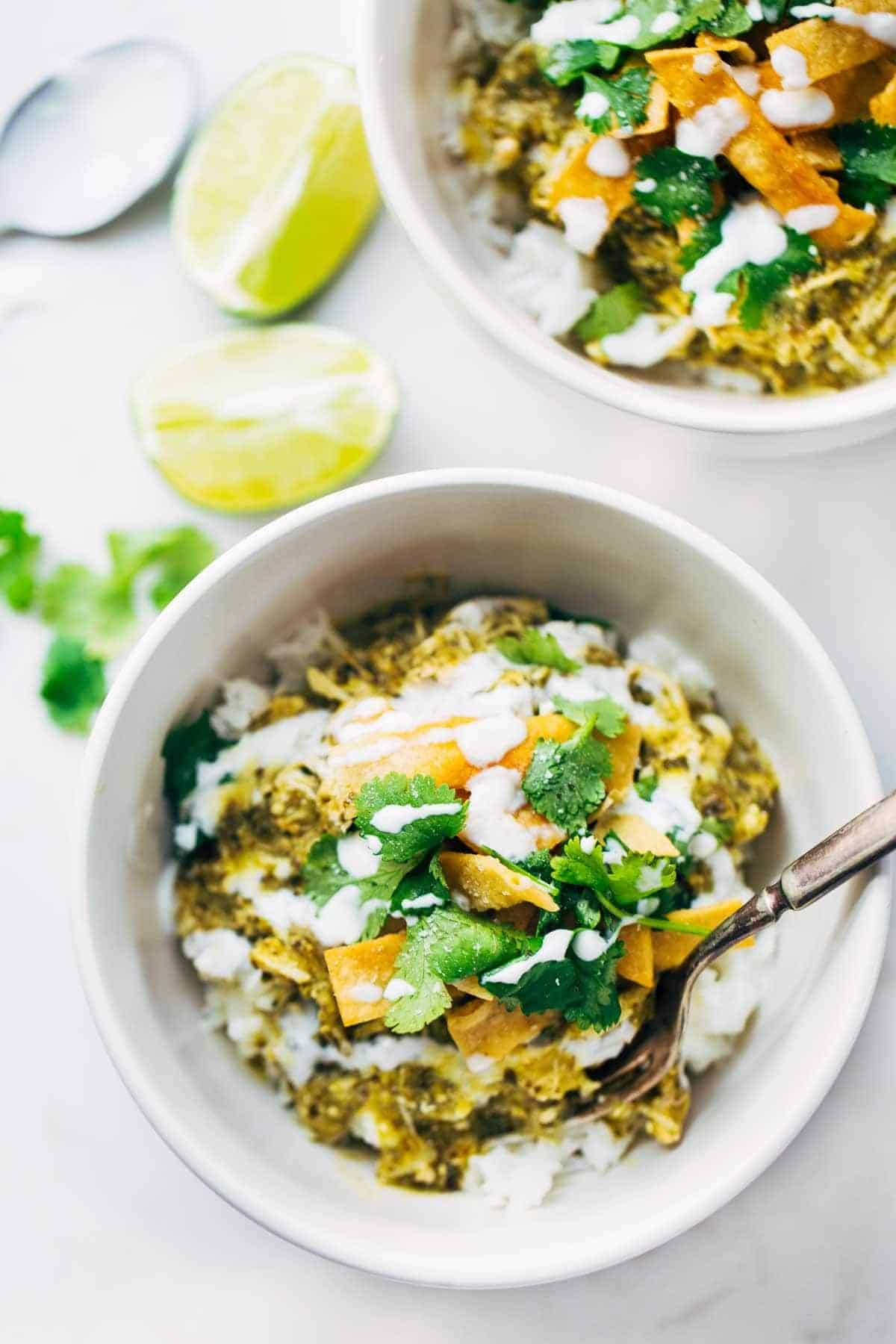 Roasted Tomatillo Chicken and Rice Bowls with toppings.